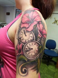 Bildergebnis für pocket watch tattoo with blossom Mommy Tattoos, Bad Tattoos, Time Tattoos, Tattoos For Kids, Tattoos For Daughters, Body Art Tattoos, Sleeve Tattoos, Tatoos, Lilly Flower Tattoo