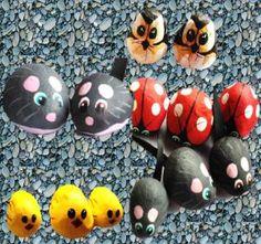 Inspírate a pintar animales en piedras.: Catarinas, pollitos, ratones y búhos
