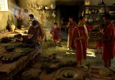 Digital reconstruction of a Roman kitchen.