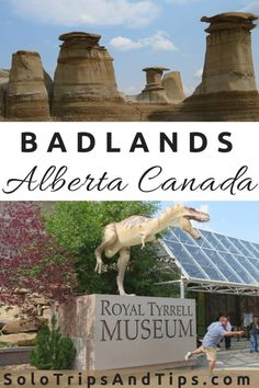 Visit the Canadian Badlands in Drumheller Alberta. Best things to do on a day trip from Calgary to Drumheller. Hoodoos, Royal Tyrrell Museum, dinosaur walk and fun things to do for kids or adults in Drumheller. Calgary, Quebec, Places To Travel, Places To See, Travel Destinations, Montreal, Canadian Travel, Canadian Rockies, Drumheller Alberta