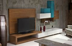 modern-tv-ünitesi-ustabasi Simple Tv, Geo Tv, Contemporary Furniture, House Design, Shelves, Wall, Modern, Room, Tvs