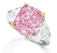 This stone is the most expensive diamond ring in the world. The five carats pink diamond was sold for a record $10.8 million.