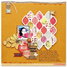 """Kim Watson - I think she used the Balzer Designs """"Pointy Circles"""" stencil to create the paper piecing in the background. Scrapbook Journal, Scrapbook Sketches, Scrapbooking Layouts, Scrapbook Cards, Smash Book Pages, Card Tags, Creative Cards, Design Crafts, Paper Piecing"""