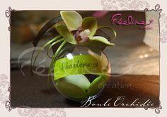 Boule à dragée Orchidée By Féeline création Mariage, baptême, www.feelinecreation.com, menu, dragée, cadeaux invités, marque-place, livret de cérémonie, fleur, livre d'or, boite cadeau, urne, plan de table, coussin alliance, dentelle, retro, champêtre, romantique .... Wedding invitation, save the date