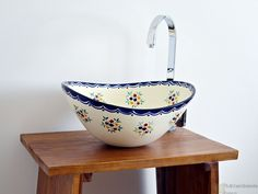 Pensamiento - MEX 7 Landhausstil Aufsatzwaschbecken oval aus Mexiko von Mexambiente
