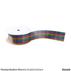 Pinstripe Rainbow Weave Satin Ribbon
