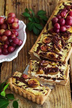 Golubka: Ricotta Fig Tart with Chocolate and Roasted Grapes