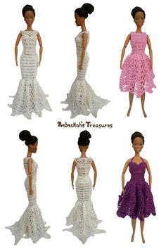 """50's High-Waist & Fishtail Dresses of the """"Happily Ever After"""" crochet pattern for fashion dolls"""