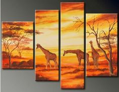 hand painted oil painting, african animal subject wall art