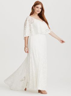 Torrid Runway Collection - White Lace Overlay Gown boho bohemian plus size lace wedding dress White Lace Jumpsuit, White Lace Gown, Floral Chiffon Maxi Dress, Lace Dress, Dress Prom, Skater Dress, Prom Dresses, Wedding Dress Capelet, Plus Size Wedding Gowns