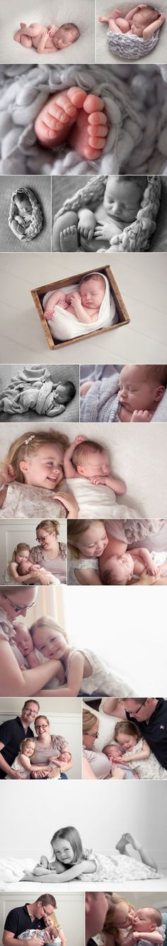 Love the mom-baby-daughter photo, and the sibling shot with the older daughter on her stomach. newborn photos, sports themed newborn photos #baby #photography #newborn