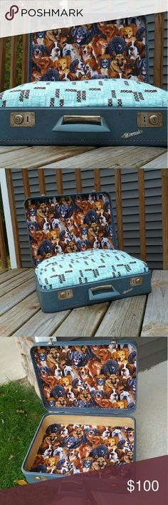 Handcrafted Dog Bed Vintage hard shell suitcase transformed into a dog bed Hand crafted by me!  **Bend the Trend** Feather pillow with a removable pillow case  Why not have your dog sleep on a feather pillow too!!! Dimensions: 21x15 Bend the Trend Other