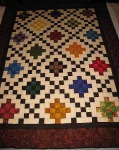 Double Irish Chain Quilt Pattern Pictures To Pin On Patchwork Quilt Patterns, Scrappy Quilts, Quilting Patterns, Quilting Ideas, Quilting Projects, Quilting Designs, Sewing Projects, Granny Square Quilt, Irish Chain Quilt