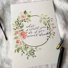 Gefllt Mal, 56 Kommentare - michelle (mlomisc) auf Need to work on my spacing happy Monday everyone! Wreath Watercolor, Watercolor Cards, Watercolour Painting, Watercolor Flowers, Painting & Drawing, Calligraphy Watercolor, Watercolor Quote, Wreath Drawing, Watercolor Portraits