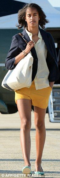 US First Daughter Malia Obama arrives at Andrews Air Force Base in Maryland on June 15, 2012