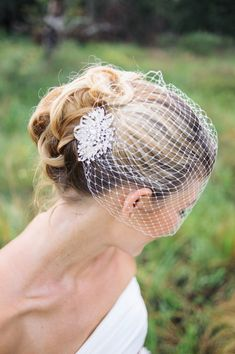 wedding veils Birdcage veil with rhinestone comb by BridesBoutik, $32.18