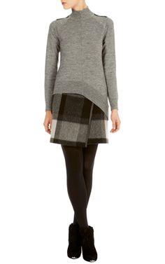 Karen Millen - Roll Neck jumper KR149 Graphic Check Skirt SR051