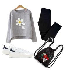 """""""lool"""" by hrustyua-kostyuk ❤ liked on Polyvore featuring beauty, J Brand, adidas Originals and Monki"""