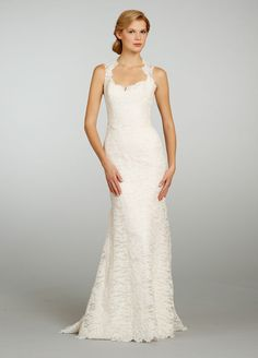 Bridal Gowns: Jim Hjelm Sheath Wedding Dress with Sweetheart Neckline and No Waist/Princess Seams Waistline