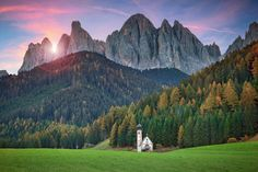 italy, south tyrol, val di funes, church, temple, forest, mountain, dolomites, meadows