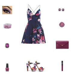"""Contest: Navy & Violet Floral Outfit"" by billsacred ❤ liked on Polyvore"