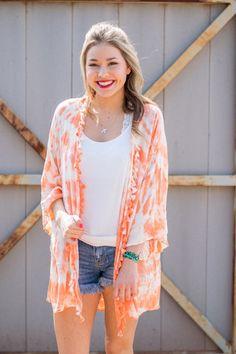 Tie dye fringe kimono | Lush Fashion Lounge