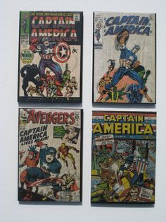 Vintage Superhero Comic Book Cover Coasters - Captain America - Great for Man Cave or Geek Decor by AllyBoosCreations on Etsy https://www.etsy.com/listing/81169925/vintage-superhero-comic-book-cover