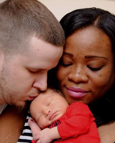 Beautiful interracial family with a adorable newborn baby #love #wmbw #bwwm