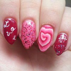 Tie Dye heart accent nail IG: crisalvarado17