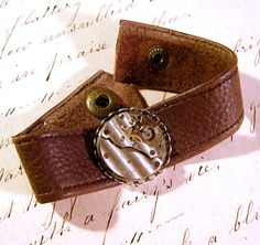 Steampunk Leather Watch Movement Bracelet Unisex by AmongTheRuins, $43.00