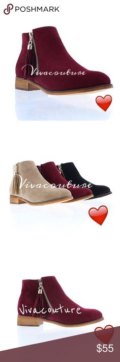 Coming Soon ! Chic Booties Fringe Wine faux suede booties with fringe fas she detail Nwt more details to follow . Order for preorder now Vivacouture Shoes Ankle Boots & Booties