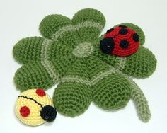Crochet Pattern - Four Leaf Clover and lady bugs
