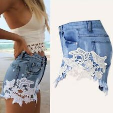 2018 summer lace hollow out sexy cowboy shorts female hot shorts Grunge style casual denim shorts white lace short pants woman Lace Denim Shorts, White Lace Shorts, Ripped Shorts, Hot Shorts, Denim And Lace, Ripped Denim, Hot Pants, Denim Dresses, Denim Outfits