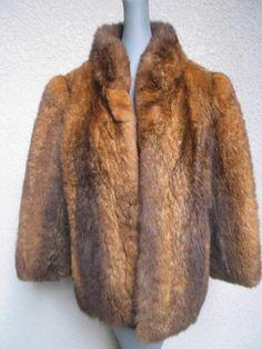 Womens Red Possum Fur Coat Jacket Size S-M