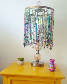 Beaded lampshade i made from an old lampshade wire frame and close diy bohemian beaded lampshade greentooth Images