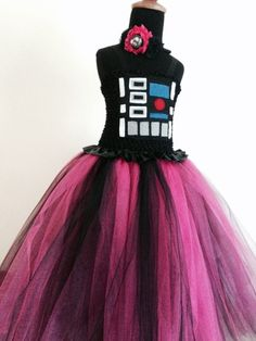This Darth Vader inspired costume was custom made as per a request by a customer, for a very special little girl! The top is crocheted with added