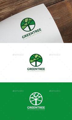 Green Tree Logo: Nature Green Logo Design Template by Logo Design Template, Logo Templates, Logo Inspiration, Logo Arbol, Grafic Design, Layout Design, Design Design, Logo Branding, Branding Design