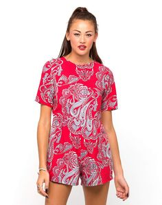 Motel Vienna Playsuit in Huge Paisley Red, TopShop, ASOS, House of Fraser, Nasty gal