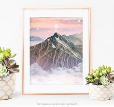 Cloudy Mountain Peak, Printable Wall Art, Sun Print, Sun Poster, Mountain Range Print, Mountain Peak Print, Summit Print, Summit Poster