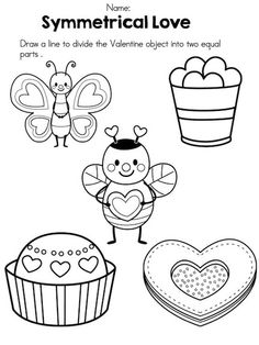 Symmetrical Love >> Draw a line of symmetry on Valentine objects >> Part of the Valentine's Day Kindergarten Math Worksheets