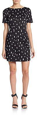 Polka Dot Spray Cutout Dress
