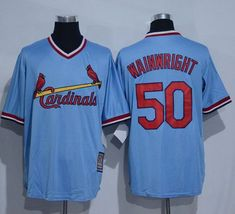 Cardinals #50 Adam Wainwright Blue Cooperstown Throwback Stitched MLB Jersey