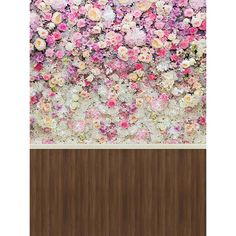 Allenjoy Photography Backdrop Colorful flower wall wooden floor princess kid newborn background photocall photo booth studio