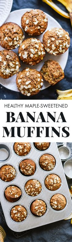 Fluffy, healthy banana muffins made with whole grains and naturally sweetened and naturally sweetened with maple syrup. Kids love them! cookieandkate.com