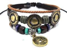 Leather Bead Metal Leaf Rivet Rope Bracelet with Metal by mooli, $8.50