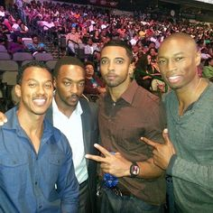 (From left) Wesley Jonathan, Anthony Mackie, Christian Keyes and Robbie Jones attend 2013 Megafest in Dallas.