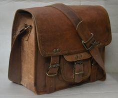 """10"""" Leather bag Handmade Office bag Hand bag leather Briefcase College bag School bag Camera Bag Messenger Bag shoulder bag. $48.00, via Etsy."""