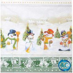 Servilleta decorada navidad Muñecos de nieve