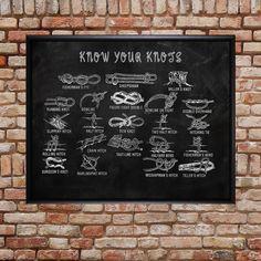 Knoten binden Chart - Scouting - Seil Knoten Print - Klettern Mann Höhle Wand Kunst Home Decor Vatertag #vi246