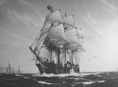 SS Savannah, the first steam powered ship to cross the Atlantic Ocean--1819 Photograph of a painting of SS Savannah, 1819, by Hunter Wood